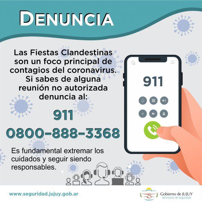FRENTE AL CORONAVIRUS. NÚMEROS TELEFÓNICOS PARA DENUNCIAR FIESTAS  CLANDESTINAS - JUJUY INFORMA